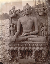 Statue of Buddha, with inscription on pedestal, Rajaona, Monghyr (Munger) District